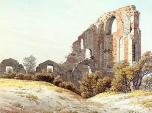 ruinas de eldena, 1825, lapiz, tinta y acuarela